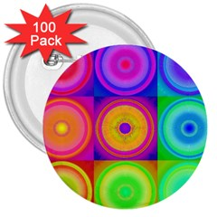Retro Circles 3  Button (100 Pack) by SaraThePixelPixie