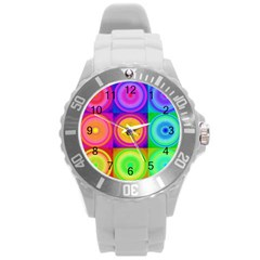 Retro Circles Plastic Sport Watch (large) by SaraThePixelPixie