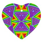 Trippy Rainbow Triangles Heart Ornament Front