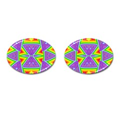 Trippy Rainbow Triangles Cufflinks (oval) by SaraThePixelPixie