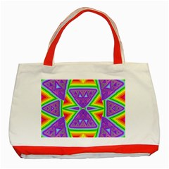 Trippy Rainbow Triangles Classic Tote Bag (red) by SaraThePixelPixie
