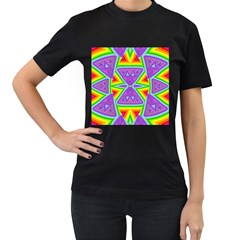 Trippy Rainbow Triangles Women s T Shirt (black) by SaraThePixelPixie