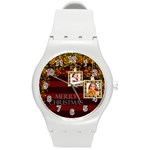 merry christmas - Round Plastic Sport Watch (M)