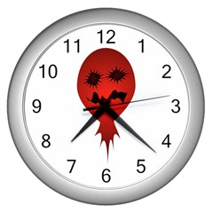 Evil Face Vector Illustration Wall Clock (silver) by dflcprints
