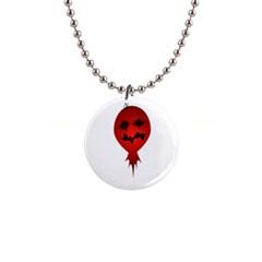 Evil Face Vector Illustration Button Necklace