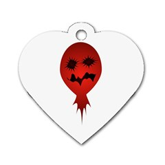 Evil Face Vector Illustration Dog Tag Heart (one Sided)  by dflcprints