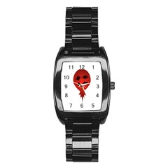 Evil Face Vector Illustration Stainless Steel Barrel Watch by dflcprints
