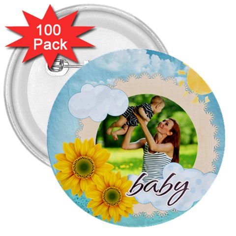 Summer By Summer Time    3  Button (100 Pack)   Yp69ab11yr6u   Www Artscow Com Front