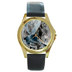 Feeling Blue Round Leather Watch (gold Rim)  by FunWithFibro