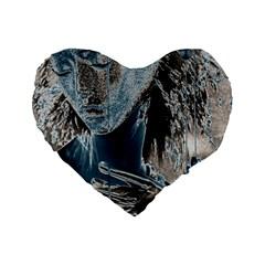 Feeling Blue 16  Premium Heart Shape Cushion  by FunWithFibro