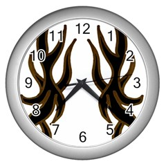 Dancing Fire Wall Clock (Silver) by coolcow