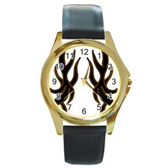 Dancing Fire Round Leather Watch (gold Rim)  by coolcow