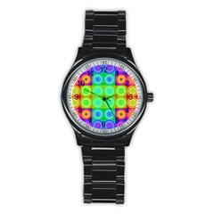 Rainbow Circles Sport Metal Watch (black) by SaraThePixelPixie