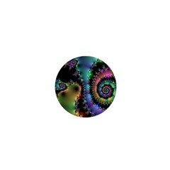 Satin Rainbow, Spiral Curves Through The Cosmos 1  Mini Button Magnet by DianeClancy