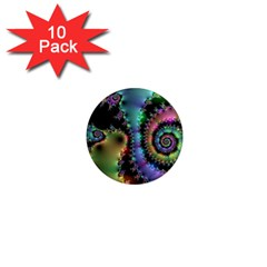 Satin Rainbow, Spiral Curves Through The Cosmos 1  Mini Button Magnet (10 Pack) by DianeClancy
