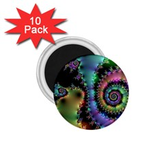 Satin Rainbow, Spiral Curves Through The Cosmos 1 75  Button Magnet (10 Pack) by DianeClancy