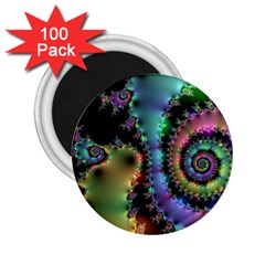 Satin Rainbow, Spiral Curves Through The Cosmos 2 25  Button Magnet (100 Pack) by DianeClancy