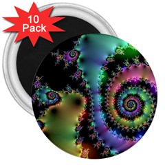 Satin Rainbow, Spiral Curves Through The Cosmos 3  Button Magnet (10 Pack) by DianeClancy
