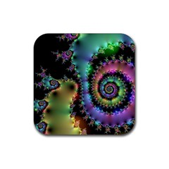 Satin Rainbow, Spiral Curves Through The Cosmos Drink Coasters 4 Pack (square) by DianeClancy
