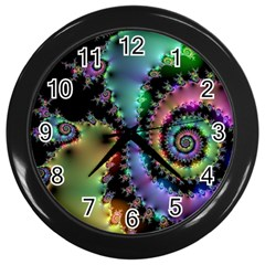 Satin Rainbow, Spiral Curves Through the Cosmos Wall Clock (Black) by DianeClancy
