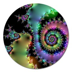 Satin Rainbow, Spiral Curves Through The Cosmos Magnet 5  (round) by DianeClancy