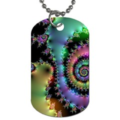 Satin Rainbow, Spiral Curves Through The Cosmos Dog Tag (one Sided) by DianeClancy