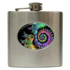Satin Rainbow, Spiral Curves Through The Cosmos Hip Flask by DianeClancy
