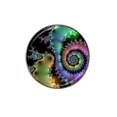 Satin Rainbow, Spiral Curves Through The Cosmos Golf Ball Marker (for Hat Clip) by DianeClancy