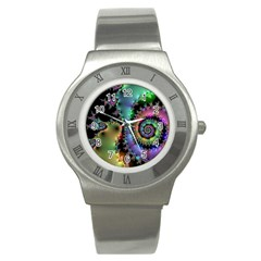 Satin Rainbow, Spiral Curves Through The Cosmos Stainless Steel Watch (slim)