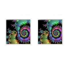 Satin Rainbow, Spiral Curves Through The Cosmos Cufflinks (square) by DianeClancy