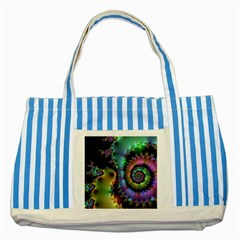 Satin Rainbow, Spiral Curves Through The Cosmos Blue Striped Tote Bag by DianeClancy