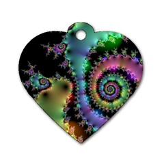 Satin Rainbow, Spiral Curves Through The Cosmos Dog Tag Heart (two Sided) by DianeClancy