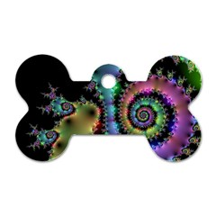 Satin Rainbow, Spiral Curves Through The Cosmos Dog Tag Bone (one Sided) by DianeClancy