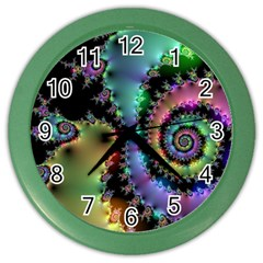 Satin Rainbow, Spiral Curves Through The Cosmos Wall Clock (color) by DianeClancy