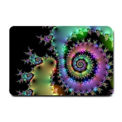 Satin Rainbow, Spiral Curves Through The Cosmos Small Door Mat by DianeClancy