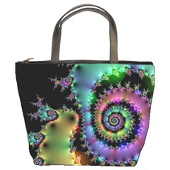 Satin Rainbow, Spiral Curves Through The Cosmos Bucket Handbag by DianeClancy