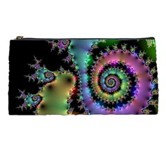 Satin Rainbow, Spiral Curves Through The Cosmos Pencil Case by DianeClancy