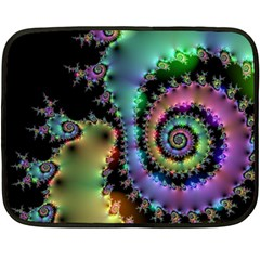 Satin Rainbow, Spiral Curves Through The Cosmos Mini Fleece Blanket (two Sided) by DianeClancy