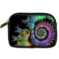 Satin Rainbow, Spiral Curves Through The Cosmos Digital Camera Leather Case by DianeClancy