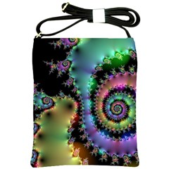 Satin Rainbow, Spiral Curves Through The Cosmos Shoulder Sling Bag by DianeClancy