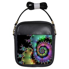 Satin Rainbow, Spiral Curves Through The Cosmos Girl s Sling Bag by DianeClancy