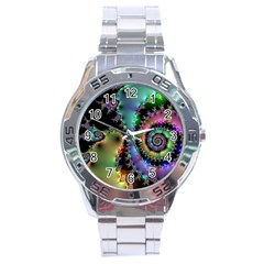 Satin Rainbow, Spiral Curves Through The Cosmos Stainless Steel Watch by DianeClancy