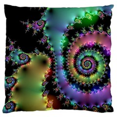 Satin Rainbow, Spiral Curves Through The Cosmos Large Cushion Case (two Sided)  by DianeClancy