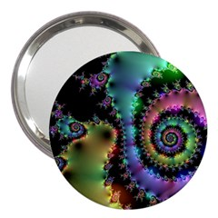 Satin Rainbow, Spiral Curves Through The Cosmos 3  Handbag Mirror by DianeClancy