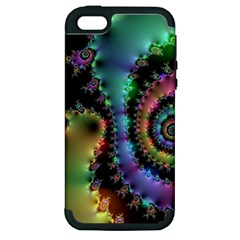 Satin Rainbow, Spiral Curves Through The Cosmos Apple Iphone 5 Hardshell Case (pc+silicone) by DianeClancy
