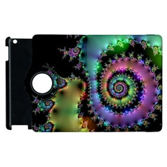 Satin Rainbow, Spiral Curves Through The Cosmos Apple Ipad 2 Flip 360 Case by DianeClancy