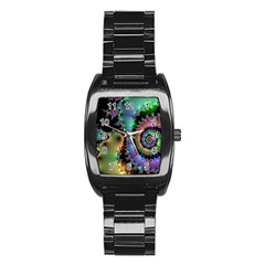 Satin Rainbow, Spiral Curves Through The Cosmos Stainless Steel Barrel Watch by DianeClancy