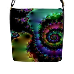 Satin Rainbow, Spiral Curves Through The Cosmos Flap Closure Messenger Bag (large) by DianeClancy