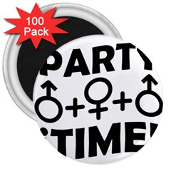 Party Time Threesome Sex Concept Typographic Design 3  Button Magnet (100 Pack) by dflcprints