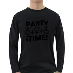 Party Time Threesome Sex Concept Typographic Design Men s Long Sleeve T Shirt (dark Colored) by dflcprints